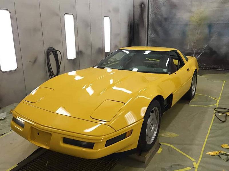 Yellow Corvette new paint job