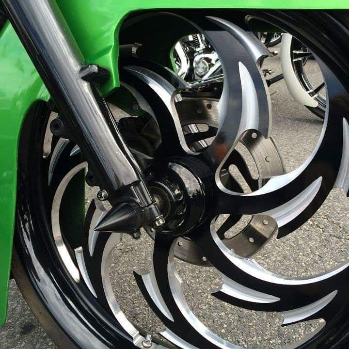 Black powder coated motorcycle wheel rim